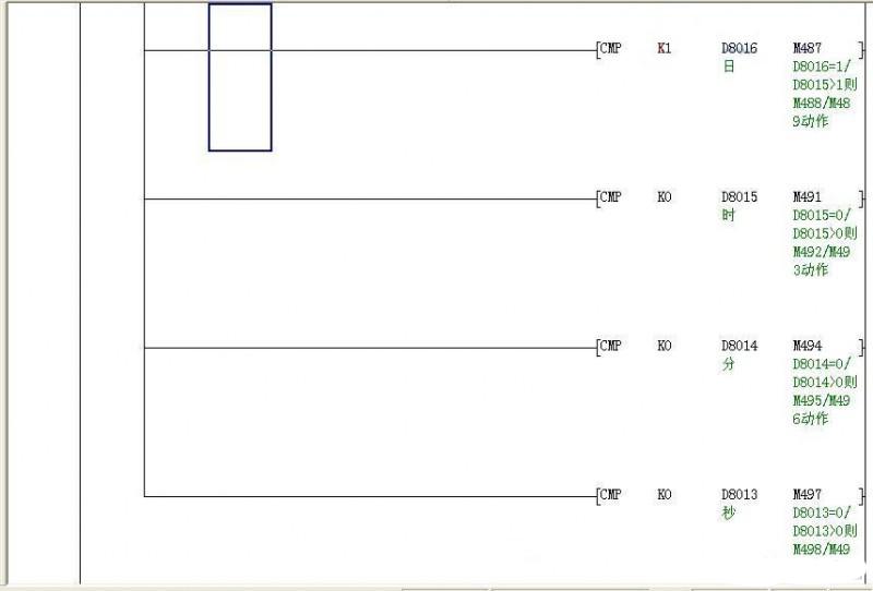 Mitsubishi PLC Timing trigger a fault PLC Program (ladder